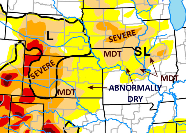 Moderate drought continues over northern Missouri, east central Missouri just west of St. Louis and west central Illinois. Abnormally dry conditions remain over all but southwest and southern Missouri and southern Illinois. Moderate to severe drought continues out on the Plains.